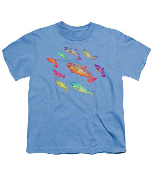 Leaping Salmon Shirt Image Youth T-Shirt