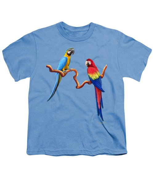 Macaw Tropical Parrots Youth T-Shirt by Glenn Holbrook