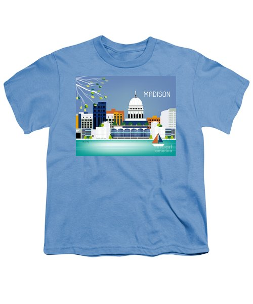 Madison Wisconsin Horizontal Skyline Youth T-Shirt