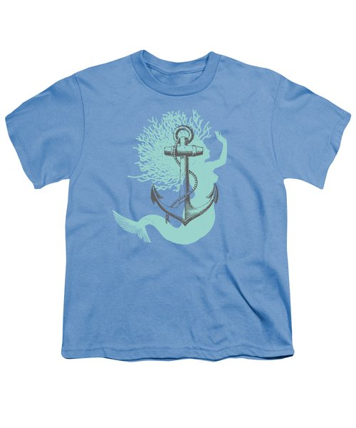 Mermaid And Anchor Youth T-Shirt by Sandra McGinley