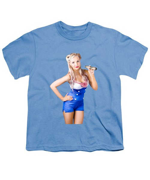 Youth T-Shirt featuring the photograph Nautical Woman In Sailor Outfit by Jorgo Photography - Wall Art Gallery