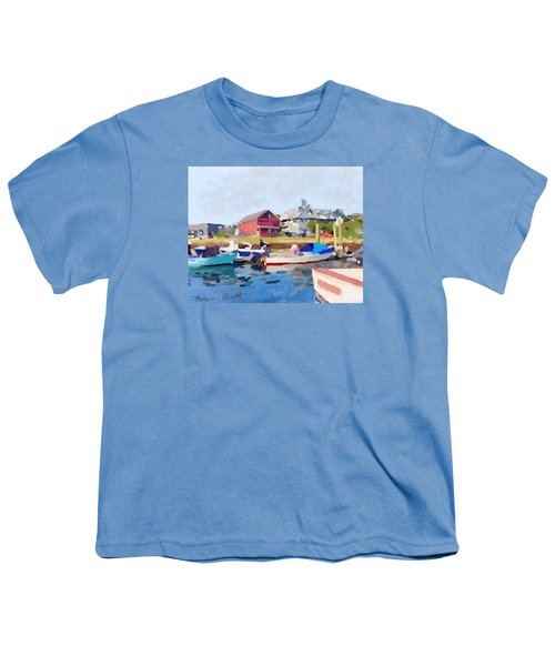 North Shore Art Association At Pirates Lane On Reed's Wharf From Beacon Marine Basin Youth T-Shirt by Melissa Abbott