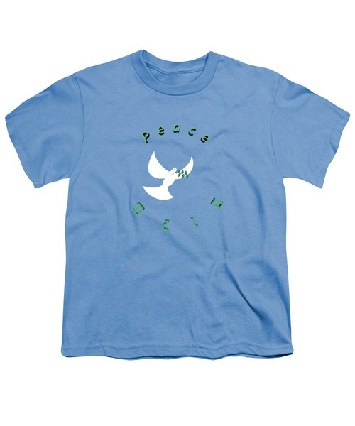 Peace In English And Hebrew With White Dove And Olive Leaf  Youth T-Shirt by Ilan Rosen
