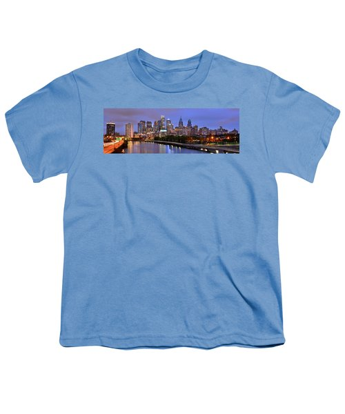 Philadelphia Philly Skyline At Dusk From Near South Color Panorama Youth T-Shirt by Jon Holiday