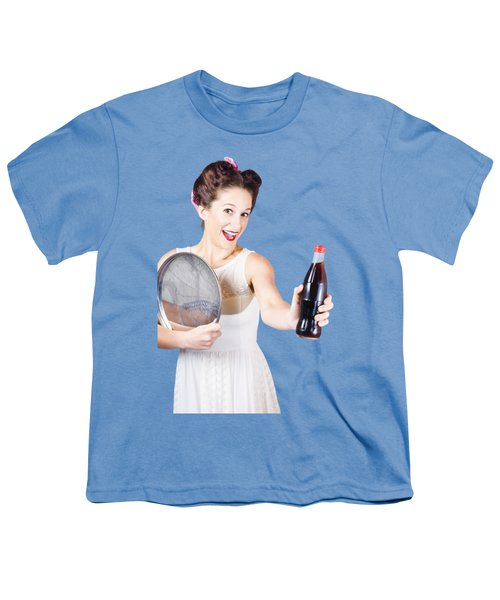 Retro Pin-up Girl Giving Bottle Of Soft Drink Youth T-Shirt by Jorgo Photography - Wall Art Gallery