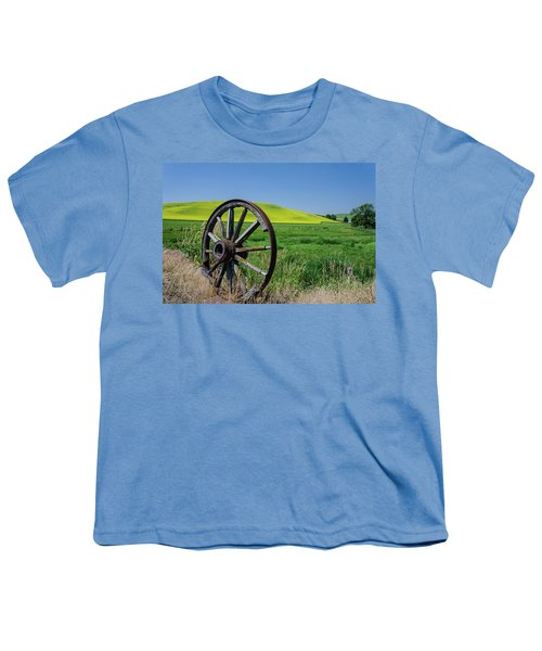 Rustic Wagon Wheel In The Palouse Youth T-Shirt