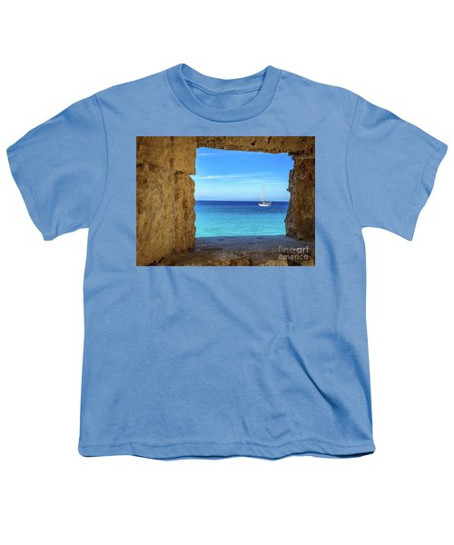Sailboat Through The Old Stone Walls Of Rhodes, Greece Youth T-Shirt