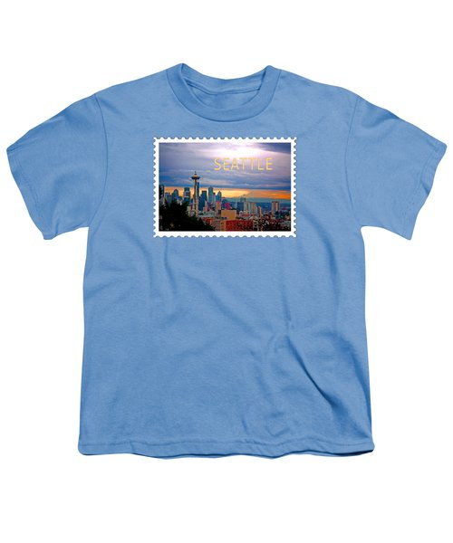 Seattle At Sunset Text Seattle Youth T-Shirt by Elaine Plesser