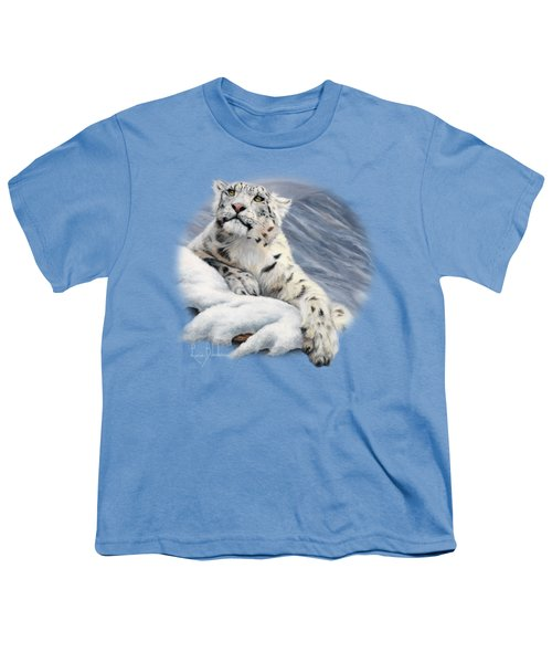Snow Leopard Youth T-Shirt by Lucie Bilodeau
