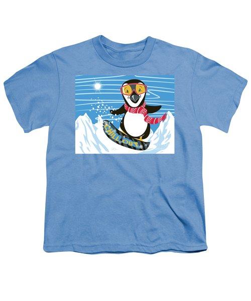 Snowboarding Penguin Youth T-Shirt