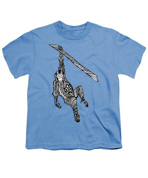 Swinging Chimpanzee Zentangle Youth T-Shirt by Kylee S