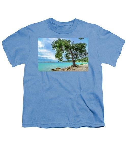 Tree On Northern Dalmatian Coast Beach, Croatia Youth T-Shirt