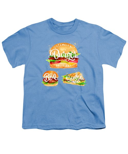 White Burger Youth T-Shirt by Aloke Creative Store