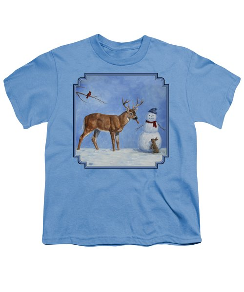 Whitetail Deer And Snowman - Whose Carrot? Youth T-Shirt by Crista Forest