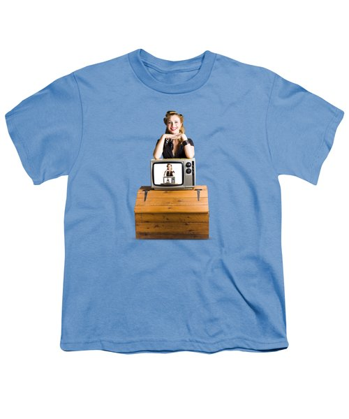 Woman  In Front Of Tv Camera Youth T-Shirt by Jorgo Photography - Wall Art Gallery