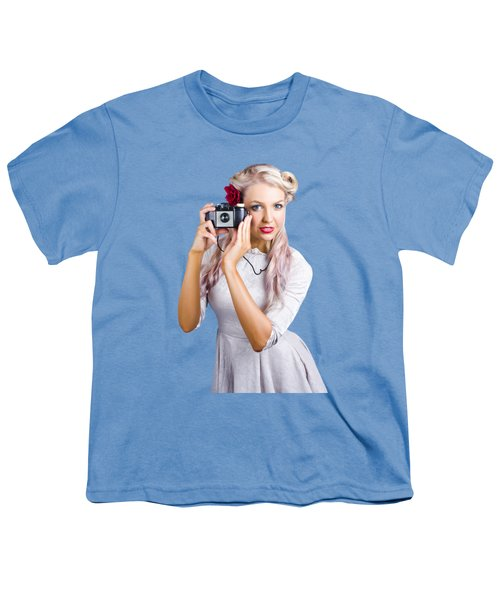 Woman Using Retro Film Camera Youth T-Shirt