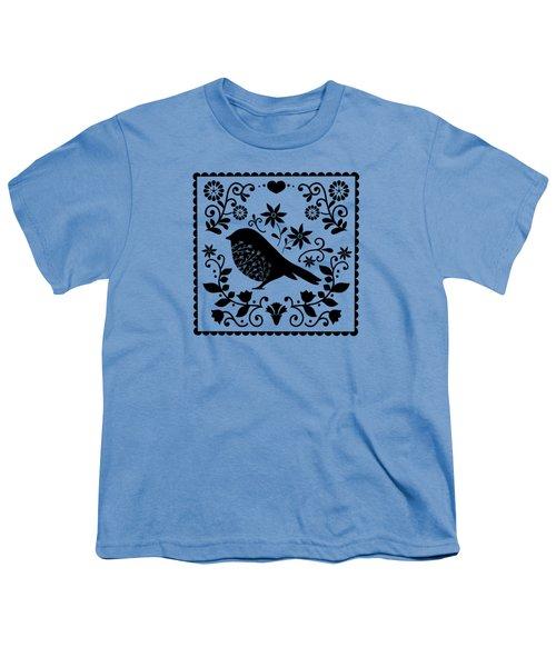 Woodland Folk Black And White Blue Bird Tile Youth T-Shirt