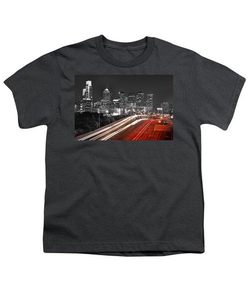 Philadelphia Skyline At Night Black And White Bw  Youth T-Shirt