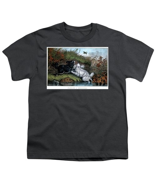 1860s Two Spaniel Dogs Flushing Youth T-Shirt