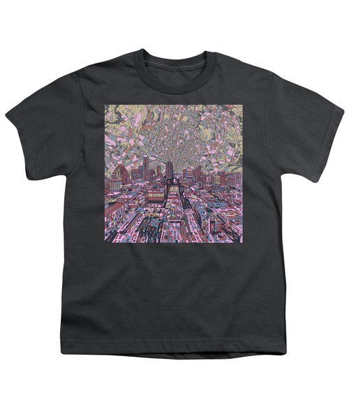 Austin Texas Vintage Panorama 2 Youth T-Shirt by Bekim Art