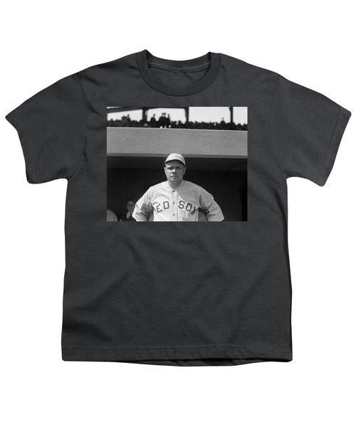 Babe Ruth In Red Sox Uniform Youth T-Shirt by Underwood Archives