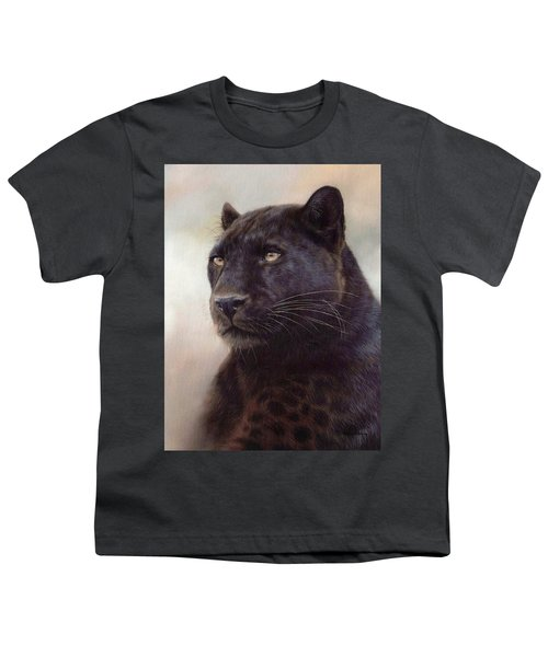 Black Leopard Painting Youth T-Shirt by Rachel Stribbling
