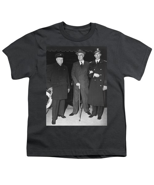 Churchill And Roosevelt Youth T-Shirt by Underwood Archives