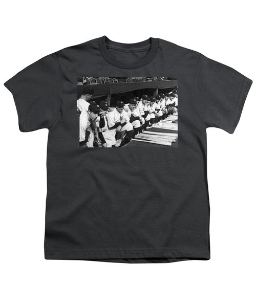 Dimaggio In Yankee Dugout Youth T-Shirt by Underwood Archives
