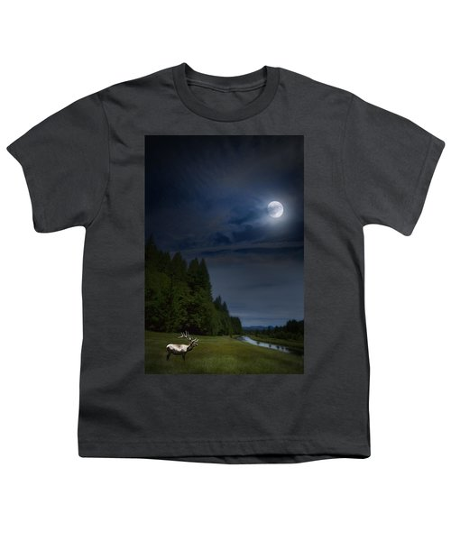 Elk Under A Full Moon Youth T-Shirt