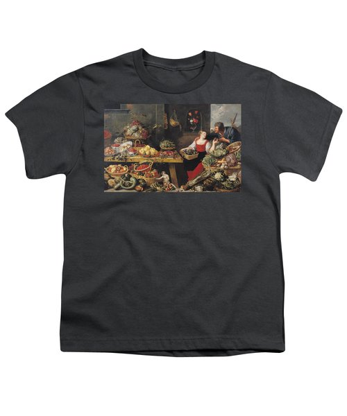 Fruit And Vegetable Market Oil On Canvas Youth T-Shirt by Frans Snyders