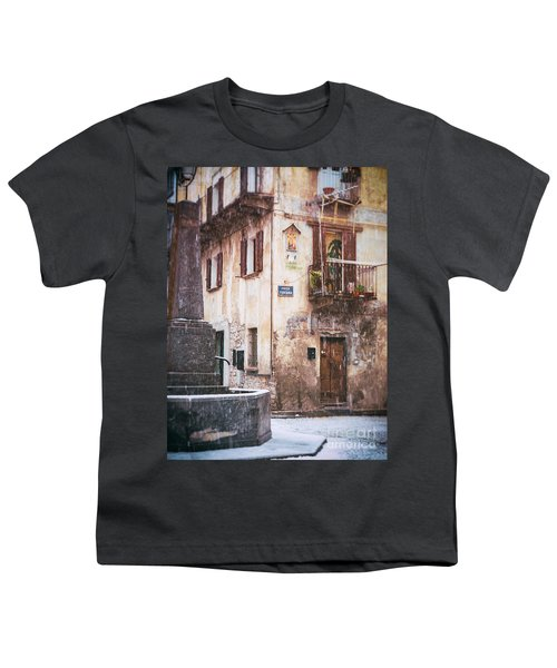 Youth T-Shirt featuring the photograph Italian Square In  Snow by Silvia Ganora