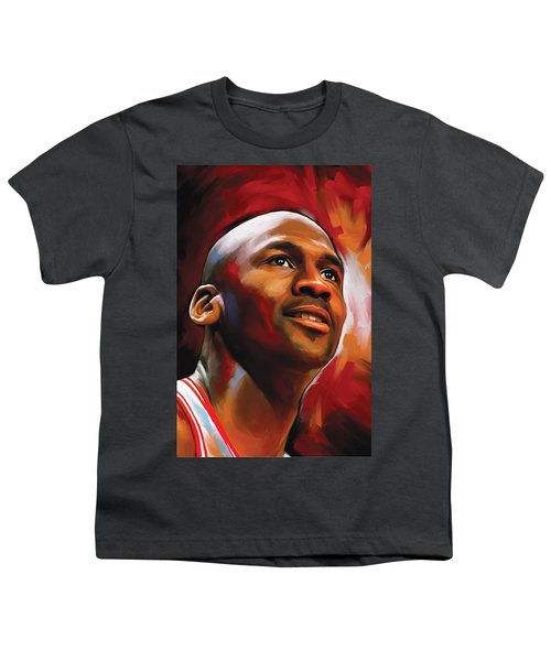 Michael Jordan Artwork 2 Youth T-Shirt by Sheraz A