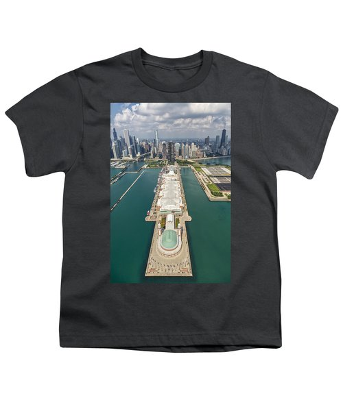Navy Pier Chicago Aerial Youth T-Shirt