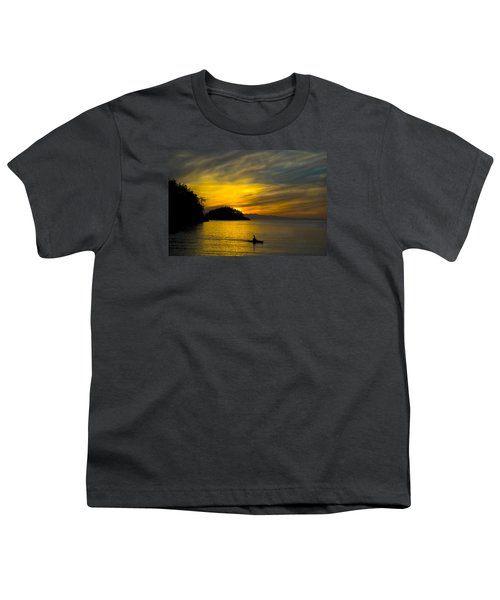 Youth T-Shirt featuring the photograph Ocean Sunset At Rosario Strait by Yulia Kazansky