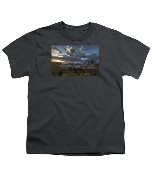 Seattle Dramatic Dusk Youth T-Shirt by Mike Reid