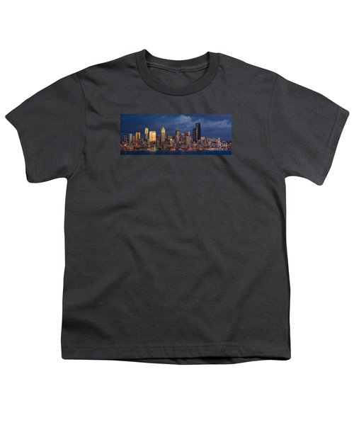 Seattle Skyline Sunset Detail Youth T-Shirt by Mike Reid