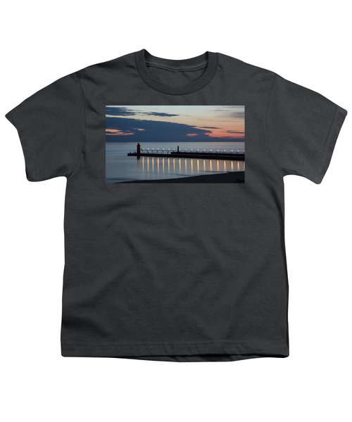 South Haven Michigan Lighthouse Youth T-Shirt by Adam Romanowicz