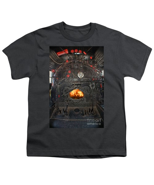 Youth T-Shirt featuring the photograph Steam Locomotive Fire Tube Firebox by Gary Keesler