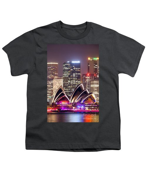Sydney Skyline At Night With Opera House - Australia Youth T-Shirt