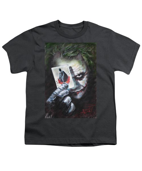 The Joker Heath Ledger  Youth T-Shirt by Viola El