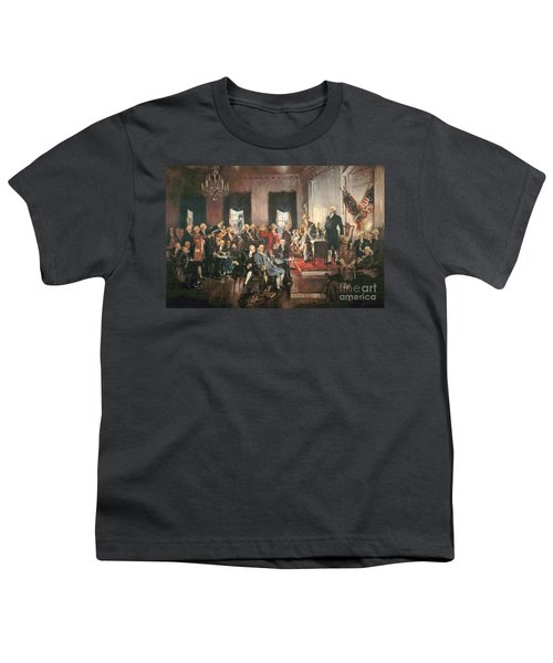 The Signing Of The Constitution Of The United States In 1787 Youth T-Shirt by Howard Chandler Christy