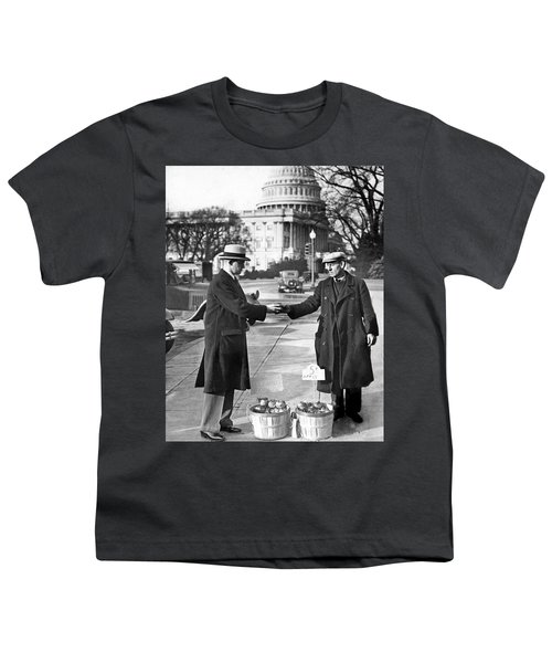 Unemployed Man Sells Apples Youth T-Shirt by Underwood Archives