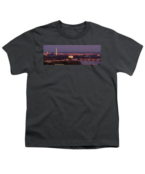 Usa, Washington Dc, Aerial, Night Youth T-Shirt by Panoramic Images