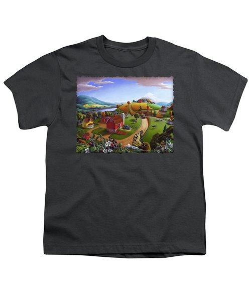 Folk Art Blackberry Patch Rural Country Farm Landscape Painting - Blackberries Rustic Americana Youth T-Shirt