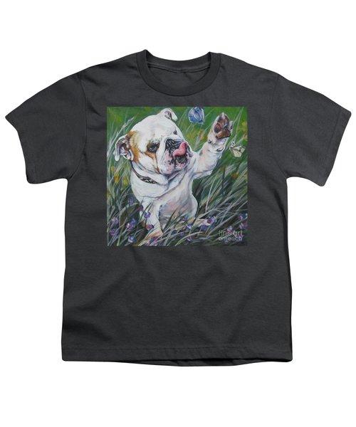 English Bulldog Youth T-Shirt by Lee Ann Shepard