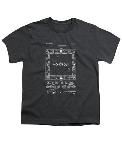 Monopoly Original Patent Art Drawing T-shirt Youth T-Shirt by Edward Fielding