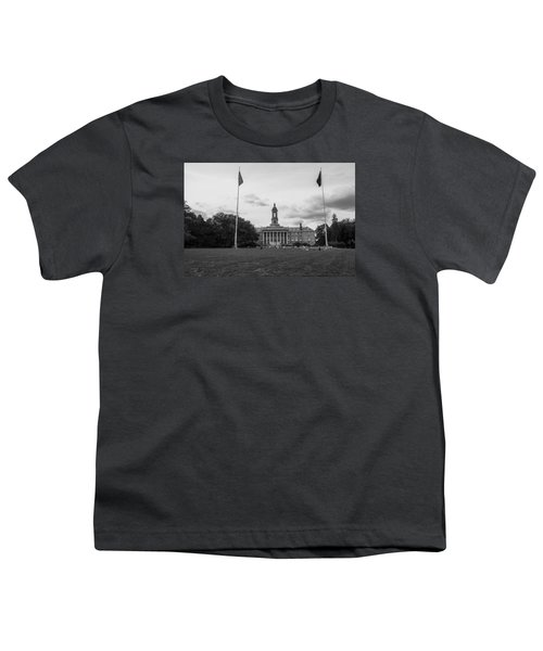 Old Main Penn State Black And White  Youth T-Shirt by John McGraw