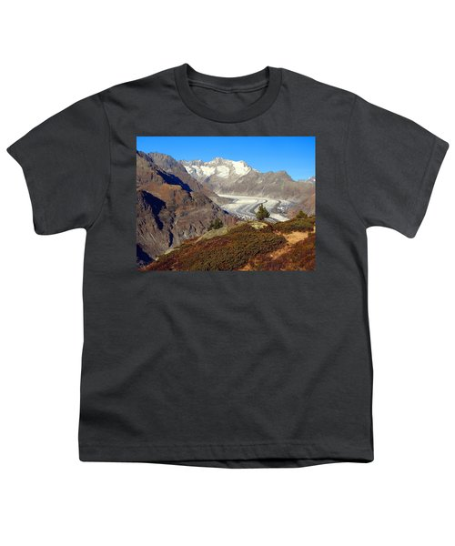 The Large Aletsch Glacier In Switzerland Youth T-Shirt