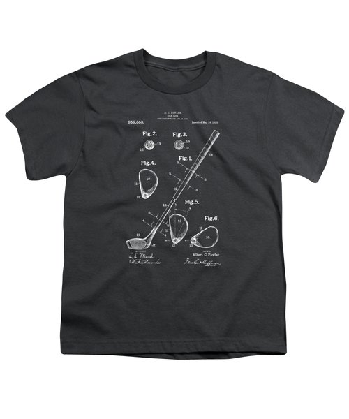 1910 Golf Club Patent Artwork - Gray Youth T-Shirt by Nikki Marie Smith