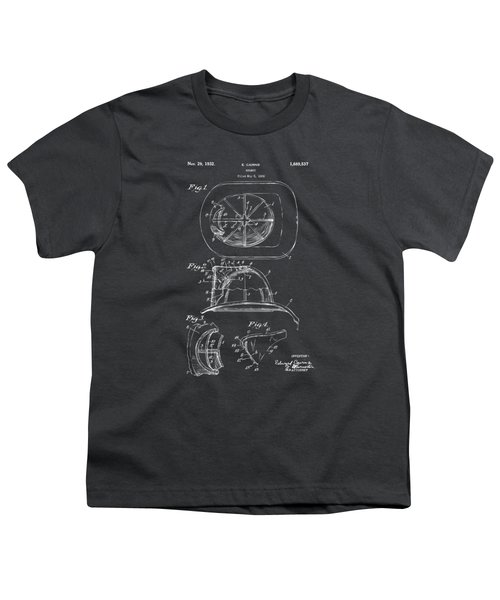 1932 Fireman Helmet Artwork - Gray Youth T-Shirt